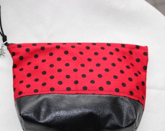 Red and Black Polka Dot Cosmetic Bag