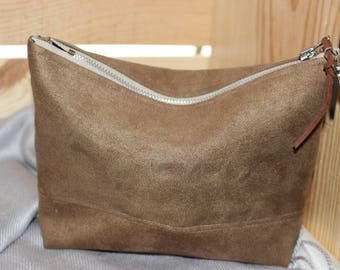 Faux Suede Makeup/Cosmetic Bag