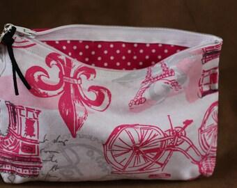 Makeup/Cosmetic Bag - Pink/White print
