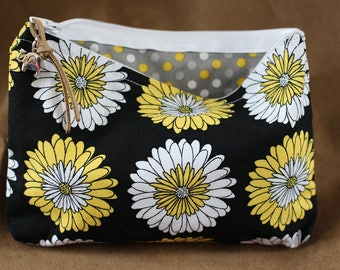 Makeup/Cosmetic Bag - Black with Yellow/White flowers