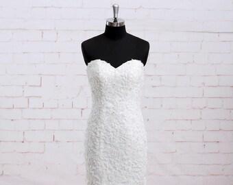 Mermaid Wedding Dress with Strapless Bodice Ivory Alencon Beading Lace Wedding Dress with Lace up Back