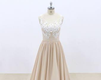 Beige Underlay Boho Wedding Dress with Scoop Neckline and Sheer Back Bohemian Lace Wedding Dress Summer Wedding Dress