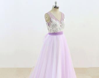 Lavender Tulle Wedding Dress Simple Wedding Dress Lace Bridal Gown Elegant Dress