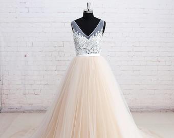 Elegant Lace Wedding Dress with V Back Colored Tulle Wedding Dress with Ribbon Summer Wedding Dress