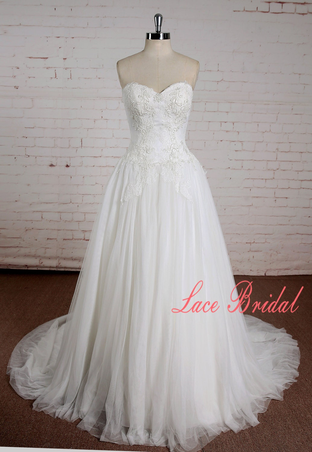 Ivory Lace Wedding Dress With Sweetheart Neckline A Line Etsy
