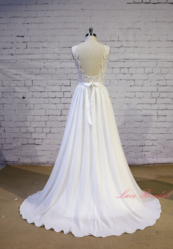 Exquisite Lace Wedding Dress V Shape Lace Neckline Wedding Gown Ivory A Line Bridal Gown Backless Chiffon Wedding Dress With Chapel Train