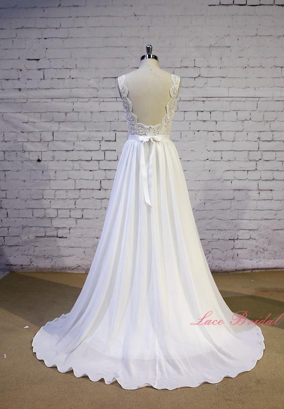 Exquisite Lace Wedding Dress V Shape Lace Neckline Wedding | Etsy