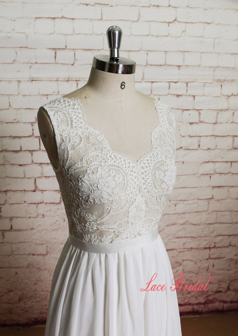Sheer Ivory Lace Bodice Wedding Dress with A-line Chiffon image 0