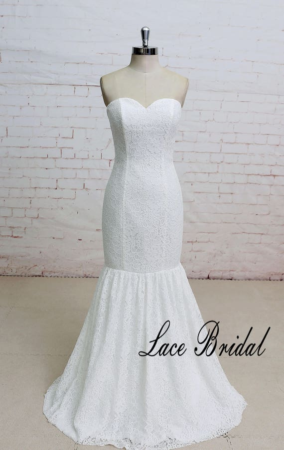 Fit And Flare Vintage Lace Wedding Dress With Sweetheart Etsy