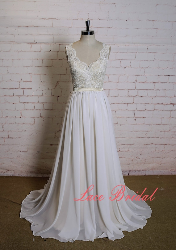 Gorgeous Lace Wedding Dress With Champagne Underlay Sexy V Back Bridal Gown With Plain Chiffon Skirt