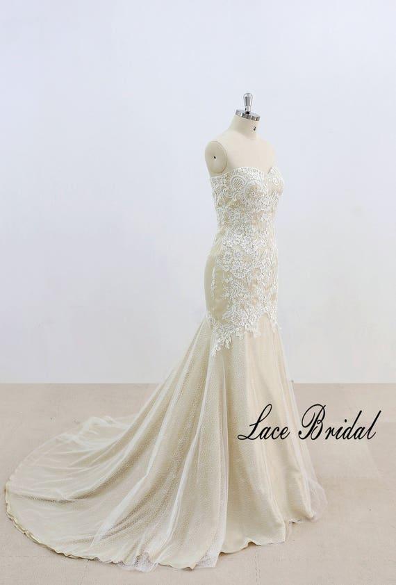 Vintage Style Lace Wedding Dress Sexy Lace Wedding Dress Ivory Mermaid Wedding Dress With Champagne Underlay