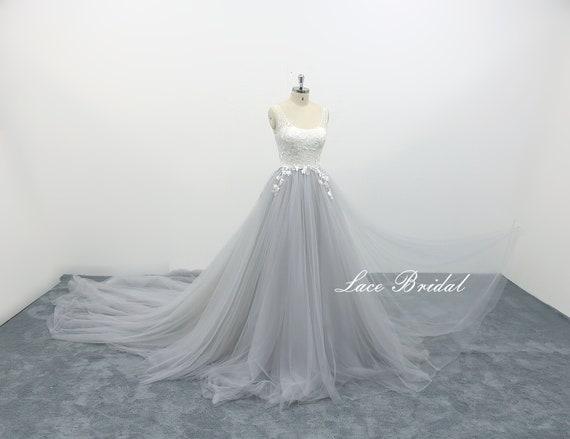 Aline Wedding Dress With Scoop Neckline Light Grey Tulle Etsy