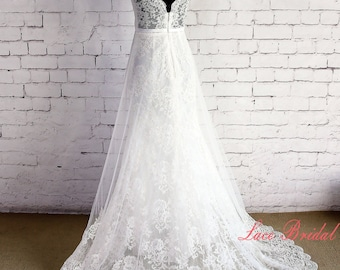 Double Layered Lace Wedding Dress Ivory V-Neck&Back Bridal Gown with Chapel Train