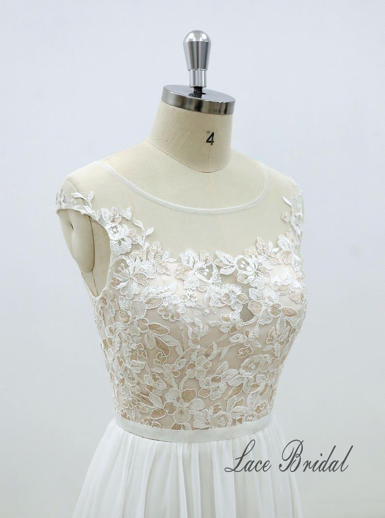 Unique Double Colored Lace Wedding Dress with Small Cap Sleeves Elegant Vintage Boho Wedding Dress Chiffon A Line Wedding Dress