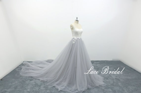 Aline Wedding Dress with Scoop Neckline Light Grey Tulle Bridal Gown Vintage Wedding Gown Floral Lace Wedding Dress with Cathedral Train