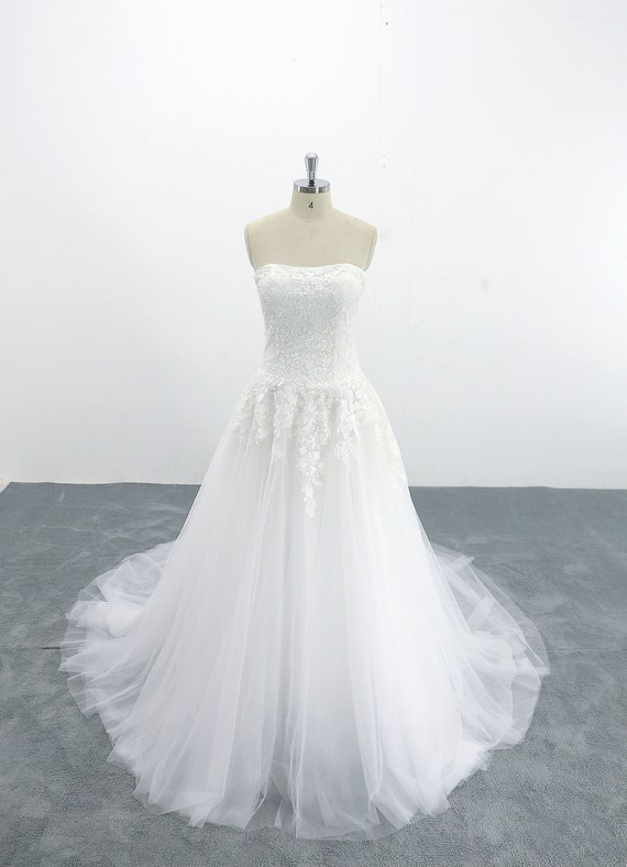 Lace Wedding Dress Drop Waist Wedding Dress With Long Train Etsy