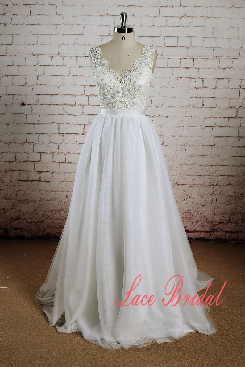 3f4b8bed0a9 Beading Bodice Wedding Dress with Tulle Skirt A-line Bridal