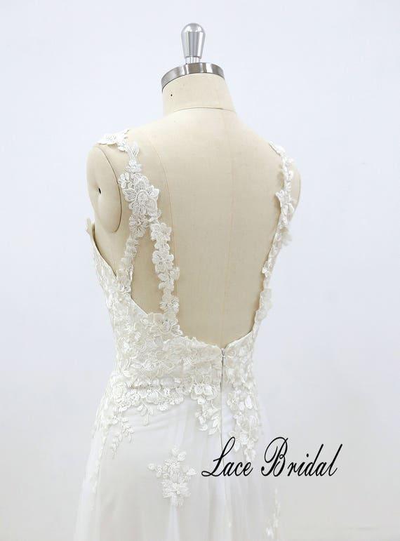Romantic Lace Wedding Dress Slim A Line Wedding Dress With Etsy