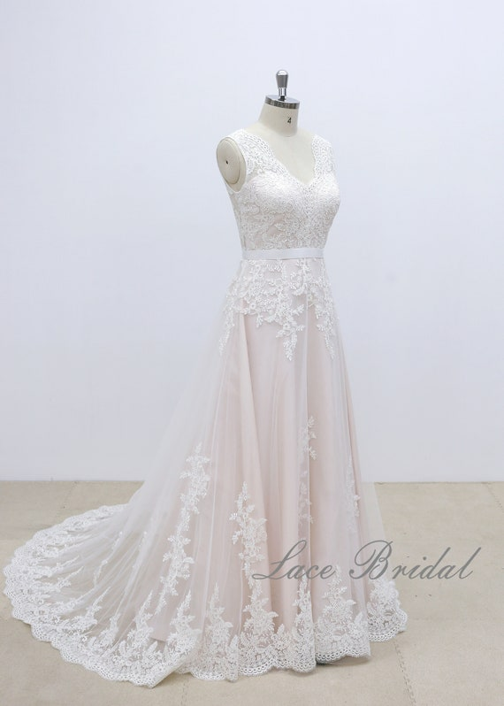 eab620e1657 Elegant Simple A-line Lace Wedding Dress with Nude Blush