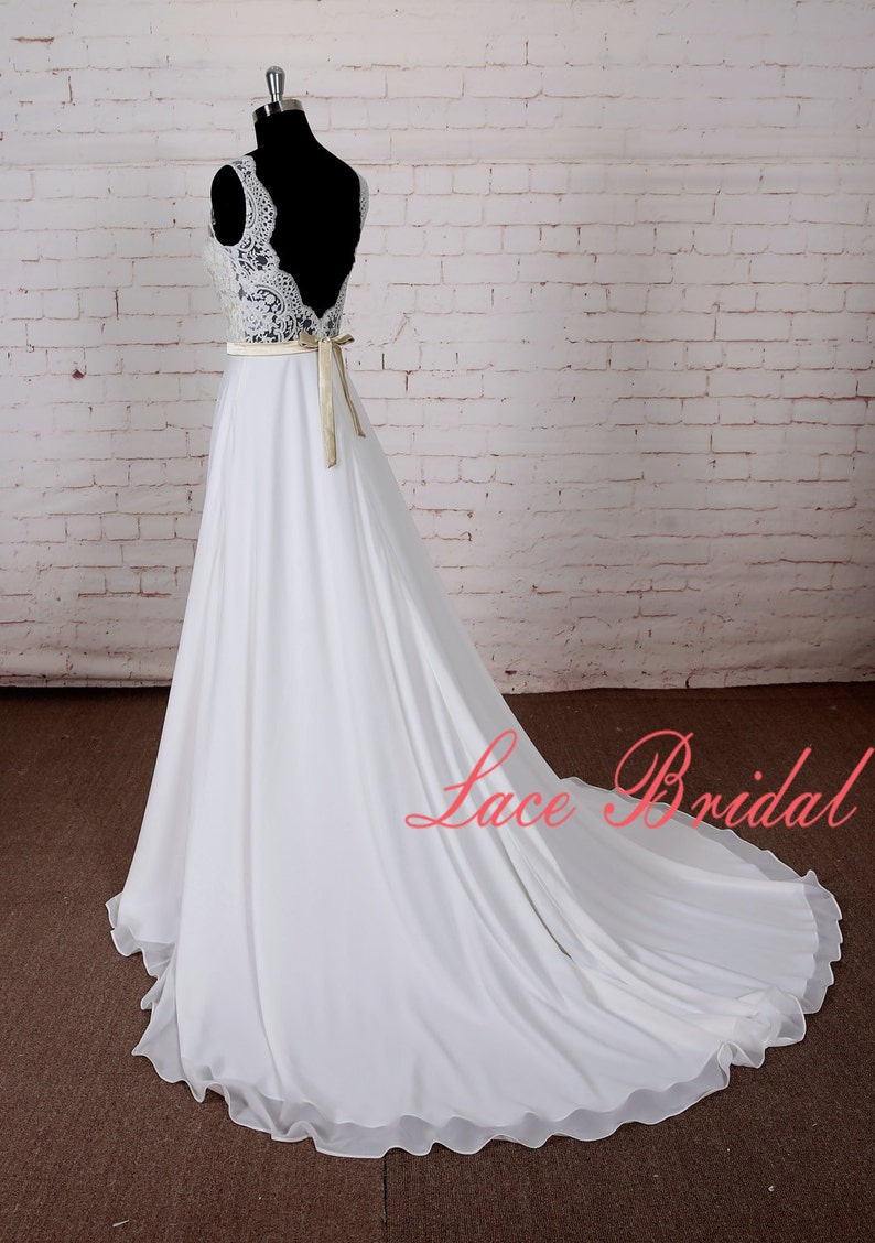 A Line Chiffon Lace Wedding Dress with Scallop Open Back Simple Style Bridal Gown with Champagne underlay of bodice