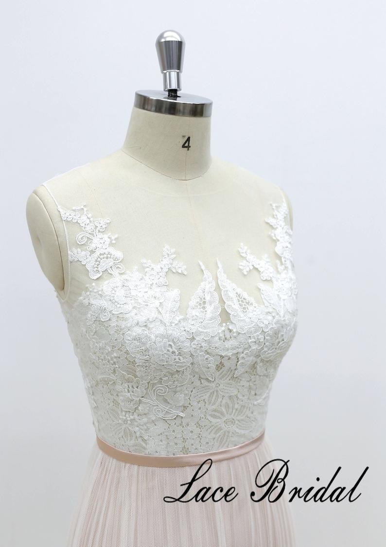Sheath wedding dress with nude blush lining Ivory lace light wedding dress Lace bridal gown boho wedding dress