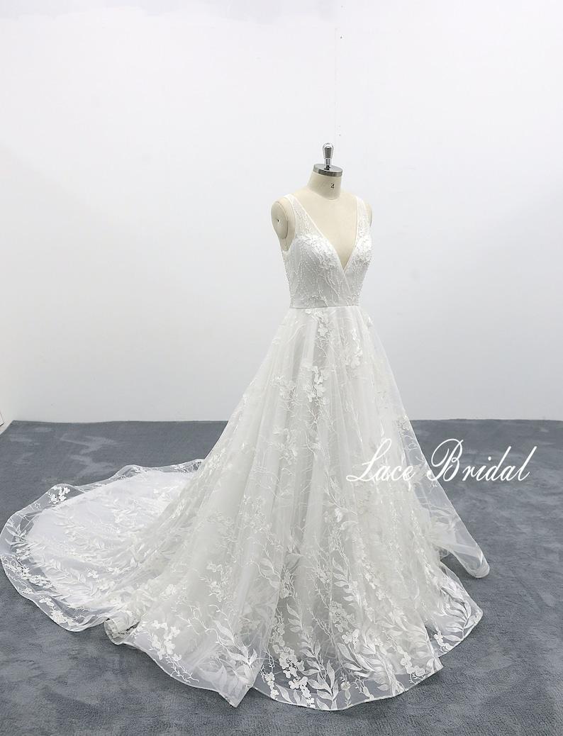 69313272aeb Fairytale Wedding Dress with Deep V Back Dreamy Wedding Dress