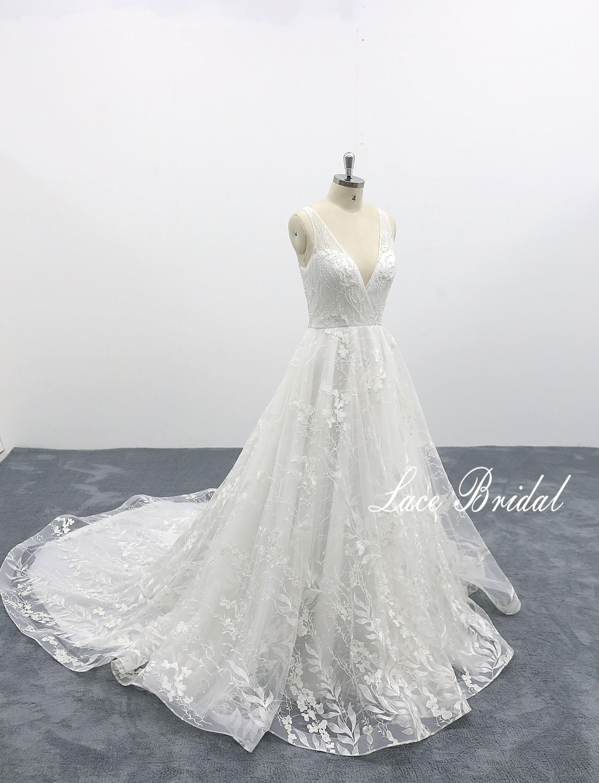 Fairy Wedding Dress.Fairytale Wedding Dress With Deep V Back Dreamy Wedding Dress Fairy Tale Wedding Dress Lace Wedding Dress Tulle Wedding Dress