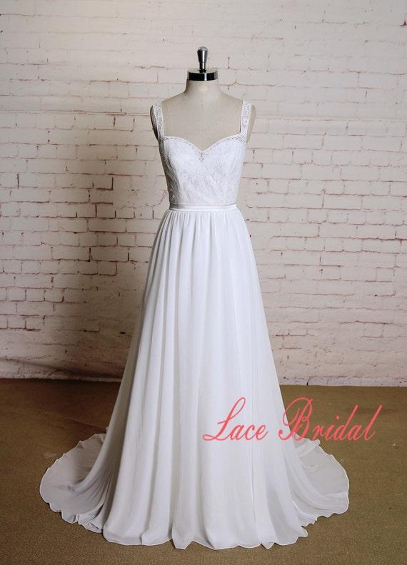 Open Back Wedding Dress With Lace Straps Ivory Chiffon Bridal Etsy