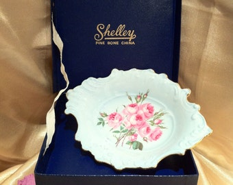 SHELLEY Blue Rose Trinket Dish (Boxed)