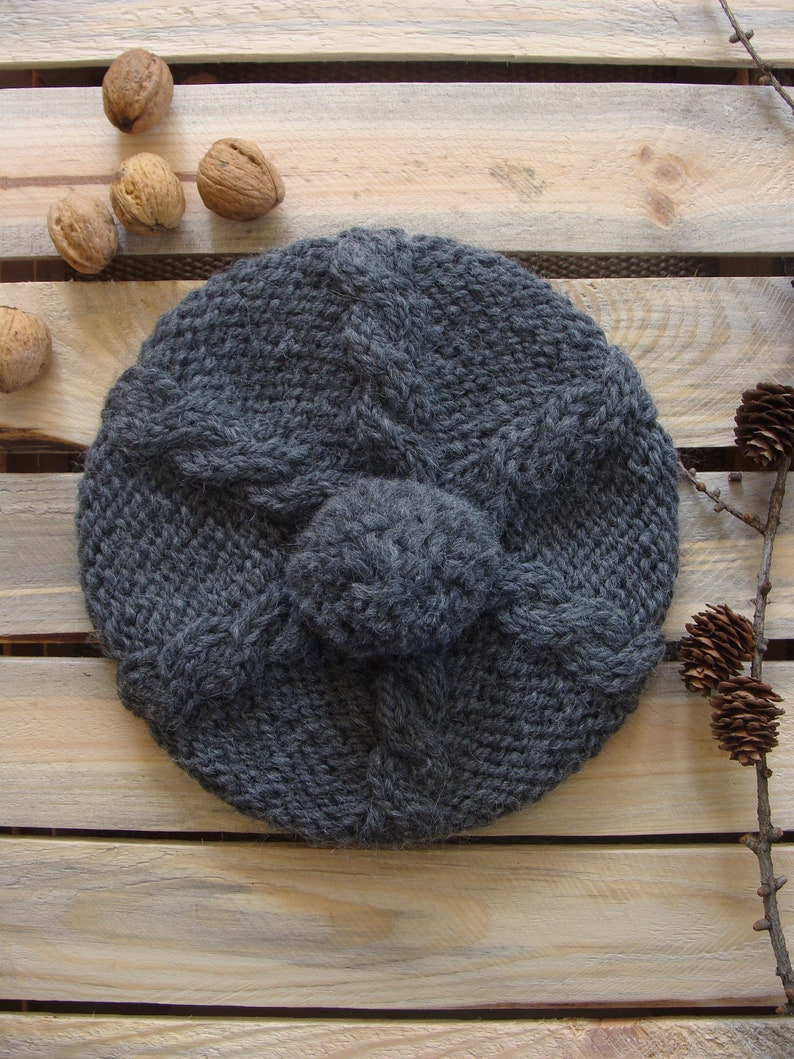 3c9cb0ff62d65 Braided knit beret hat with pompom cable knitted wool alpaca