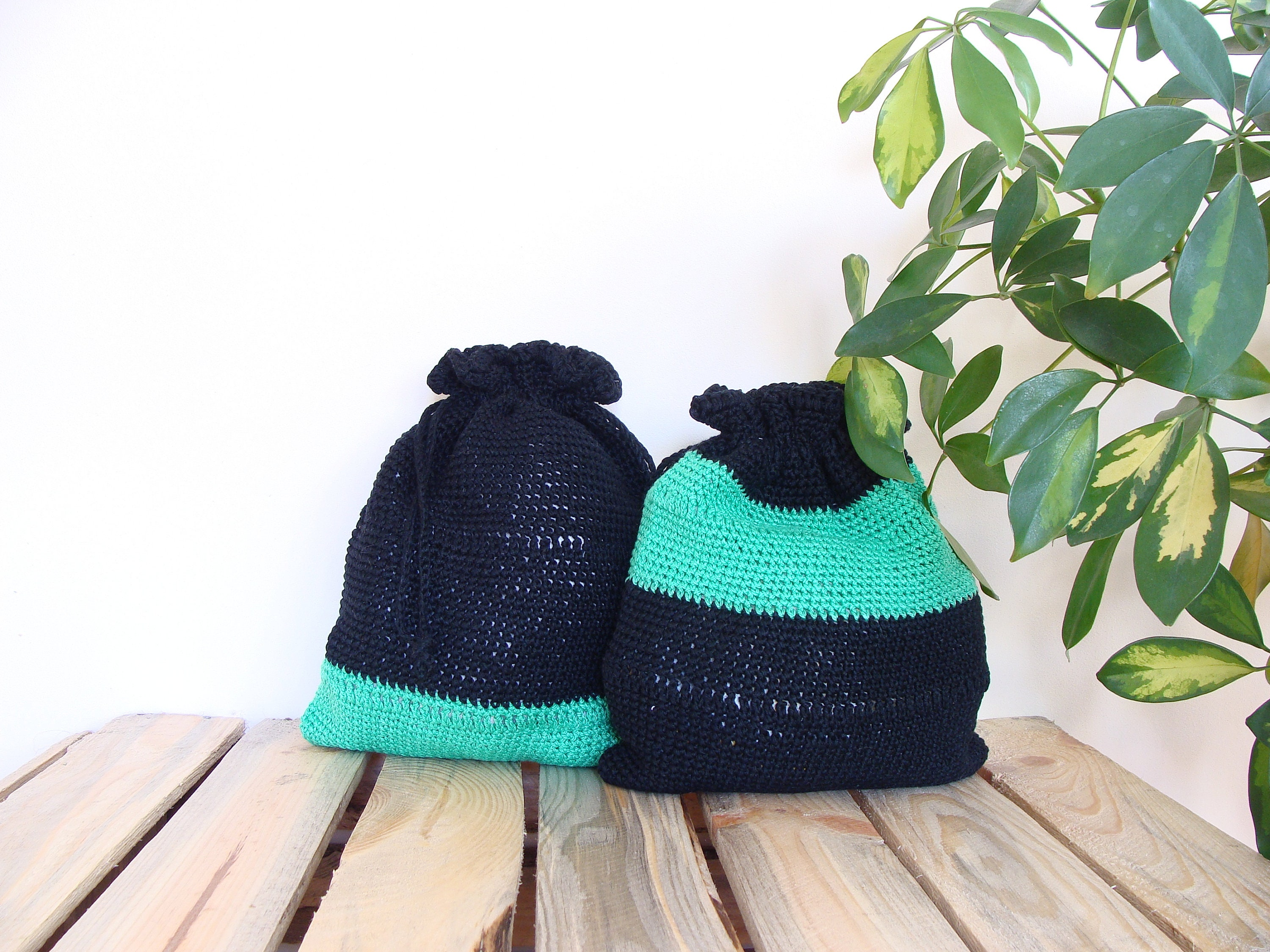 Project Bags Cotton Drawstring Pouches Two Tone Crochet Etsy