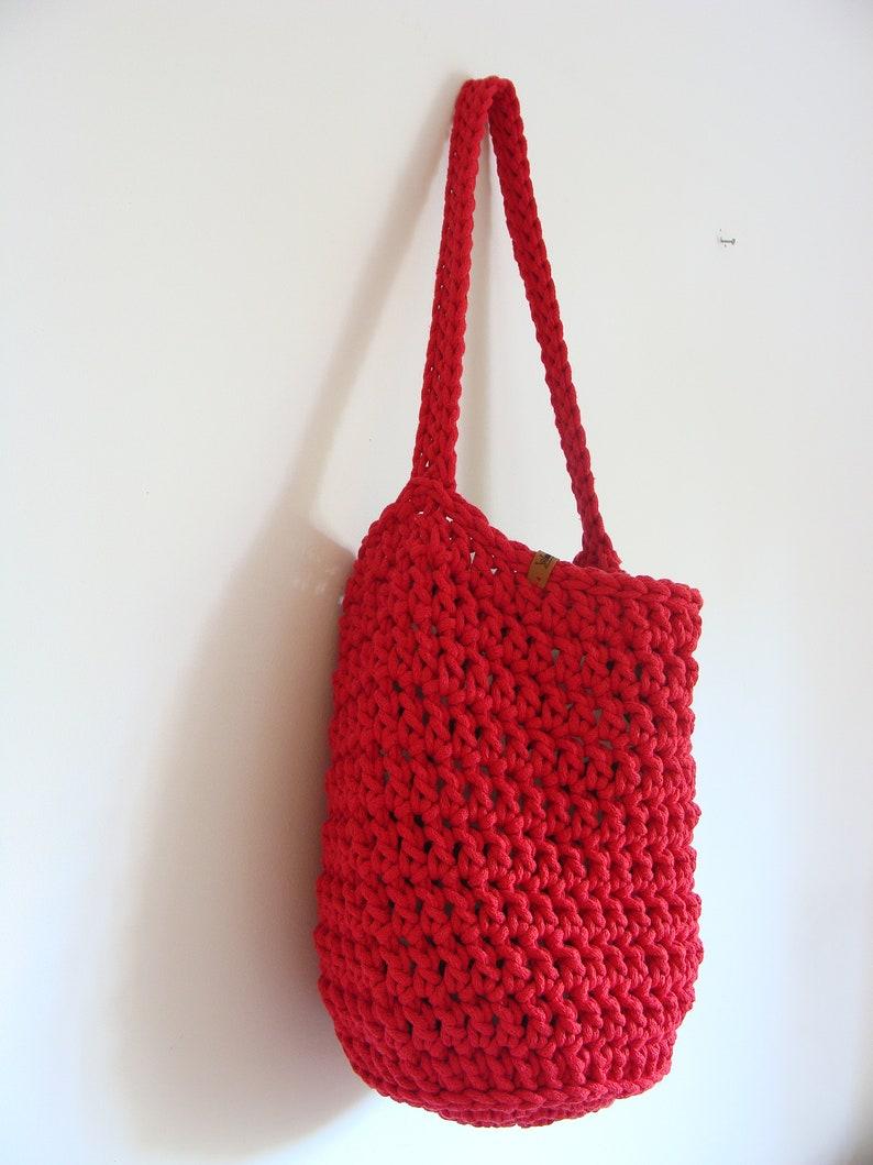 custom bag with lining and pockets Crochet round boho tote bag cotton rope sack bag