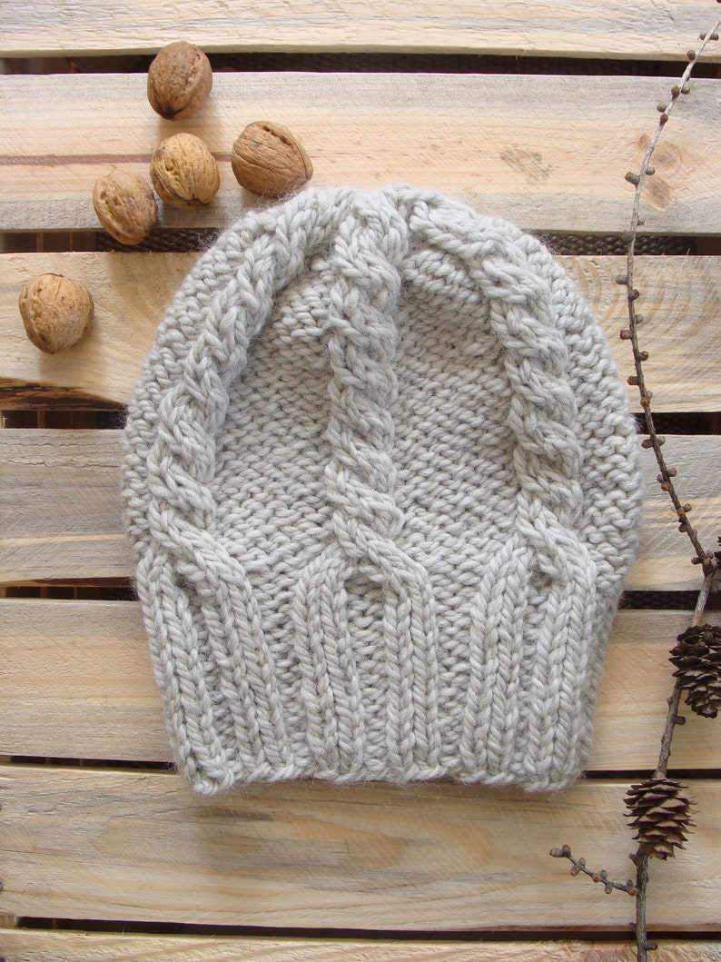 1d108f1e267 Chunky knit cable beanie hat braided slouchy beanie hat
