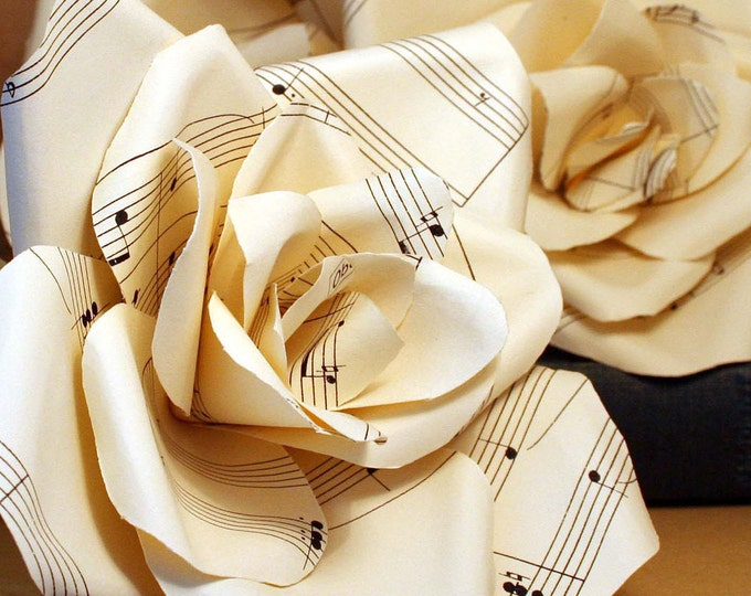 Wedding Day Buttonhole Forever Rose, Bridal Chorus Music Score Boutonniere with Cream Ribbon. Groom, Groomsman, Pageboy, Mother of the Bride