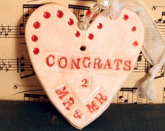Congrats Mr and Mr Heart, Wedding Day, Hand Painted & Decorated Ceramic Love Heart, Engagement, Celebration, Congratulations, Love.