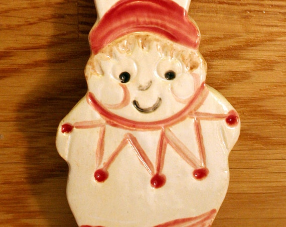 Red and White Gnome Handmade Pottery Decoration, Decor, Garden Gnome, Elf, Elfish, Cheeky Elf Ornament. Ready to give as a gift for someone.