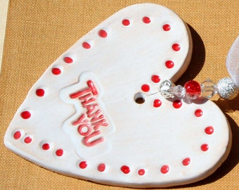 Thank You Pottery Heart, Greeting Heart, Thanks, Grateful, Pleased, Say it with a Lovely Handmade Clay Heart Handmade in my Sussex pottery.