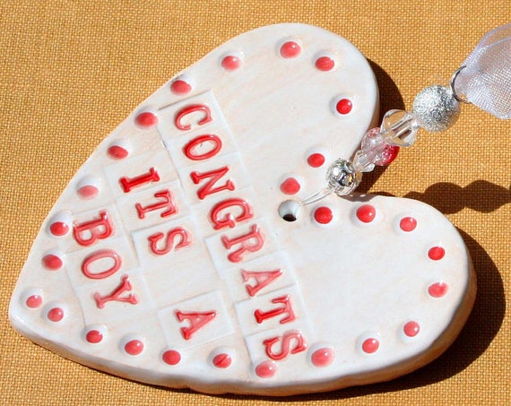 Congrats its a Boy Handmade Pottery Heart for a Baby Shower, sent to you in a lovely gossamer bag ready to give as a gift.