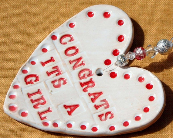 Congrats its a Girl Pottery Heart, Baby Shower, Congratulations on your new Daughter, Family, New Baby Present, Hand Painted, Sussex Pottery