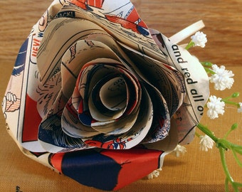 Vintage Dandy Annual Buttonhole, a Comic Boutonniere, Wedding Day Rose, Retro Paper Flower, Groom, Groomsman, Usher, Father of the Bride.