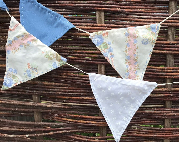 Hand Sewn Fabric Bunting, Home Decor, 12 Flags with Pretty Flowers, Birthday, Wedding Party, Anniversary, Movable Flags, Pretty Bunting.