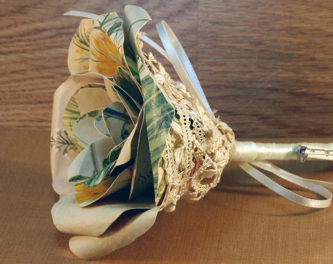 Vintage Illustrated Flower Buttonhole, Rose Boutonniere, Wedding Day Rose, Paper Flower, Groom, Groomsman, Usher, Father of the Bride.