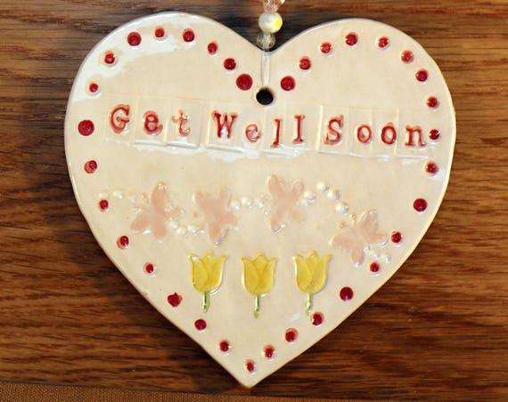 Get Well Soon Handmade Pottery Heart, hand painted with lovely  butterflies. Sent to you in a lovely gossamer bag to give as a gift.