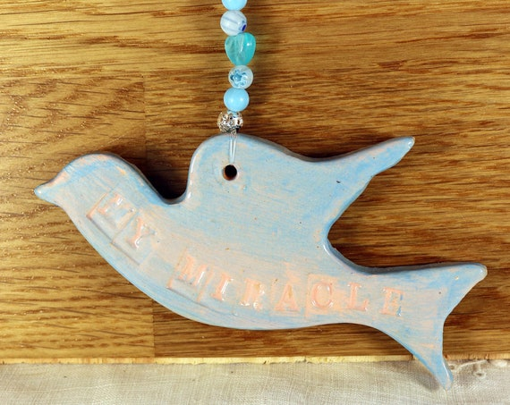 My Miracle Flying Bird, Hanging Decoration, Mothers Day, Husband, Wife, Bride to Be, Husband to be, New Baby, Gift for Him, Gift for Her.