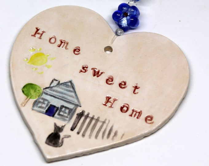 Home Sweet Home Handmade Pottery Heart. Congratulations, New Home, Wedding Day, Anniversary, Birthday, Fathers Day, Mothers day, Moving in.