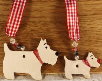 Two lovely White Westie Terriers Dogs with red collars. Birthday, Anniversary, Love Dogs, West Highland Terriers, Woof, Fur Baby, Pooch, Pet