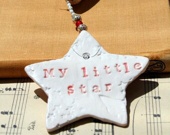 My Little Star, ceramic star, textured, coloured glazes, Gift, mother, Mum, New Baby, wife, friend, Partner.