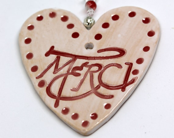 French Merci Pottery Heart to say thank you. Sent to you in a lovely gossamer bag ready to give as a gift.