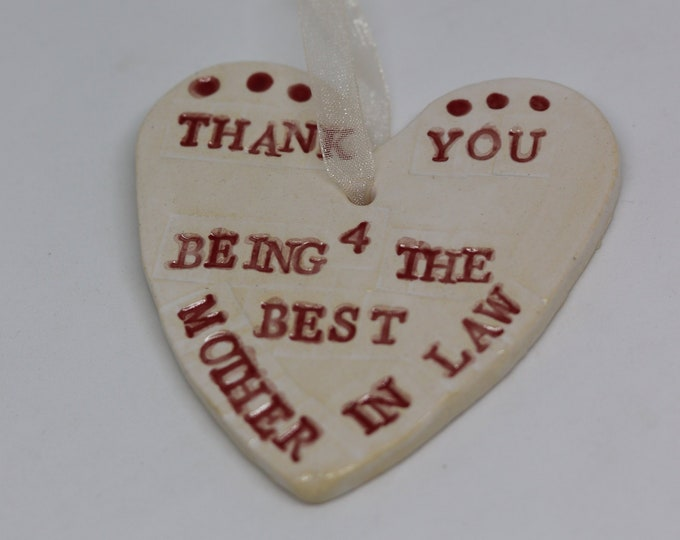 Best Mother in Law, Marriage, Wedding Planning,Decoration. Handmade. Hanging Ceramic Ornament, Wedding Day, Wedding Favour, Home Decoration.