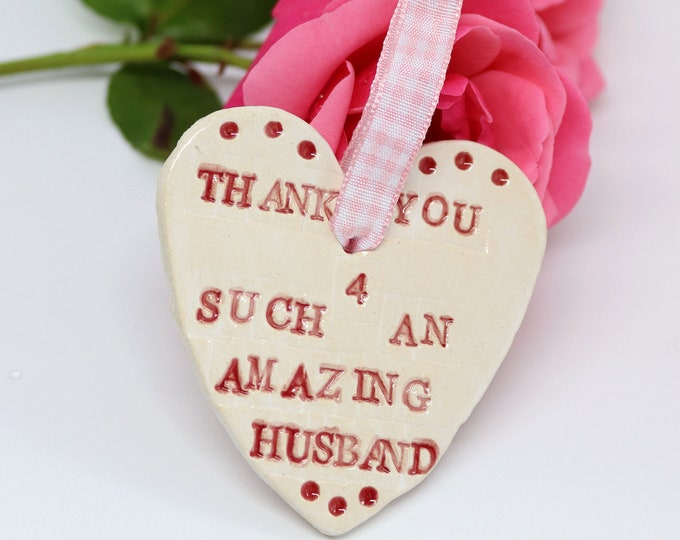 Thank you for such an amazing husband handmade heart. Great wedding gift for the mother of the groom. Ceramic. pottery, wedding favour.